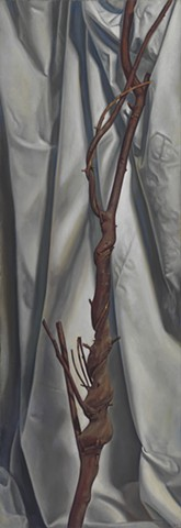 Pamela Sienna oil painting of cloth and branch