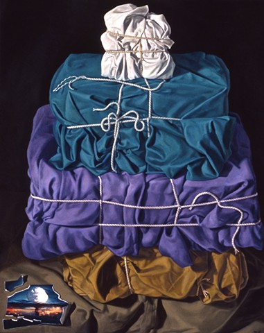 """Imbalance"" by Pamela Sienna, oil painting of cloth stacked, bound with string, paper scrap with bomb image, contemporary still life"
