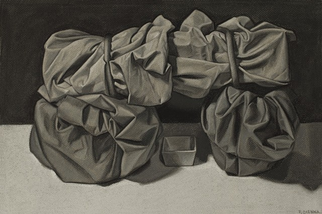 charcoal drawing, still life study by Pamela Sienna