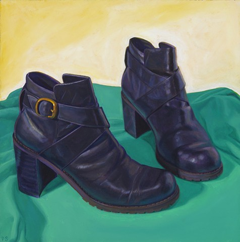 Wardrobe Study Two ( Alibi black boots from 1995) by Pamela Sienna - oil painting 1990's black boots, oil painting
