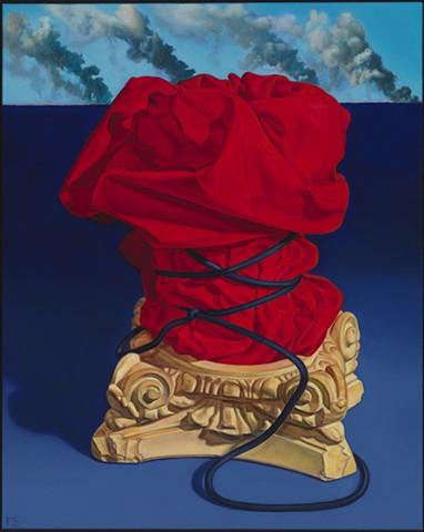 Pamela Sienna oil paintings, contemporary still life, paintings of cloth and smoke