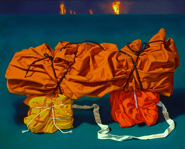"""""""Secrets of Civilization #1"""" by Pamela Sienna, 16"""" x 20"""" oil painting, still life of cloth, tied and stacked, with distant fires, contemporary realism"""
