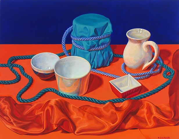 Circling the Still Life #2 by Pamela Sienna - still life oil painting, cloth, vases, cord, orange, blue
