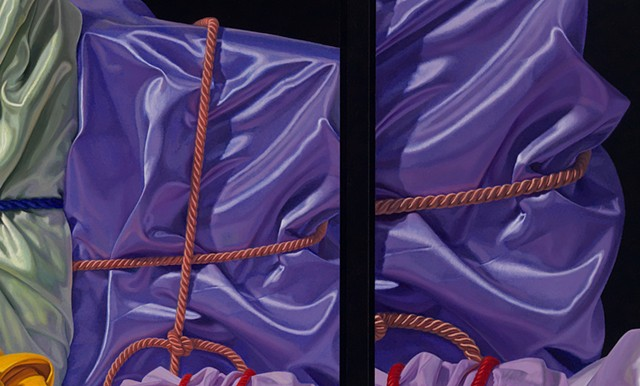 detail of oil painting of satin by Pamela Sienna - part of triptych