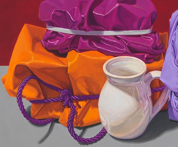 detail of white cup and polished cotton folds and cord in still life oil painting by Pamela Sienna