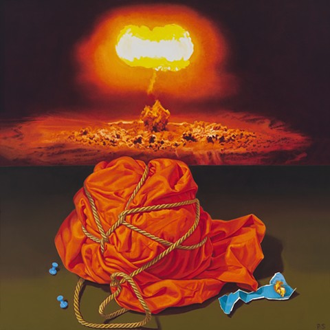 Pamela Sienna oil painting of wrapped cloth and explosion. Contemporary realism
