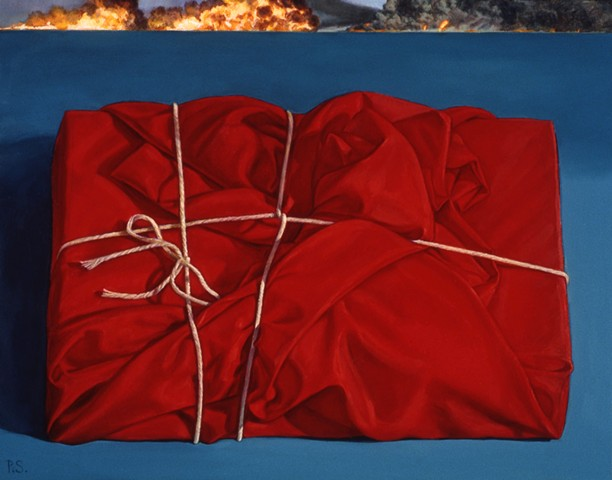 """Wrapped (rapt)"" by Pamela Sienna, 11"" x 14"" oil painting still life of cloth and fire on horizon, contemporary realism"