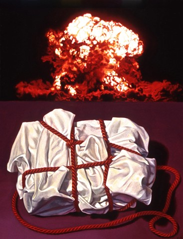 Pamela Sienna oil painting of cloth and atomic explosion blast. Contemporary realism.