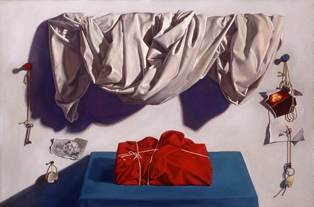"""Wrapped (in the medium of time)"" by Pamela Sienna, oil painting, still life of white draped cloth and red cloth wrapped and tied package, scraps of paper and string.  Arthur S Goldberg collection, Danforth Museum of Art, Framingham, MA"