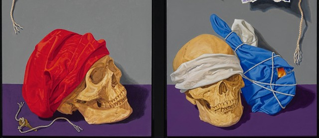 detail of skulls in oil painting by Pamela Sienna