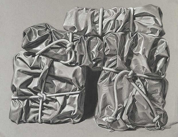 charcoal drawing of cloth still life by Pamela Sienna
