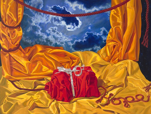 Primary Phase (chaos and Hope) by Pamela Sienna - still life oil painting, satin, cords, hope, gift, ribbon, cloud, woman painter, contemporary realist