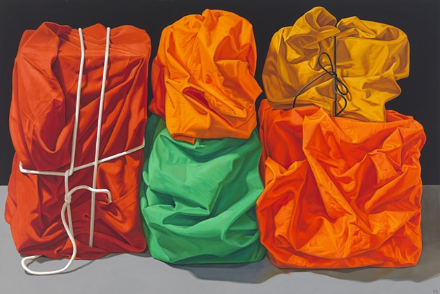 """""""The Reeling Mind"""" by Pamela Sienna, 24"""" x 36"""" oil painting still life of wrapped cloth, contemporary realism"""