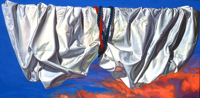 "Lift"" by Pamela Sienna, 18"" x 36"" oil painting, still life of draped white cloth tied by cords, drapery pulled up in front of bright sunset sky, Collection of Evansville Museum, contemporary realism"