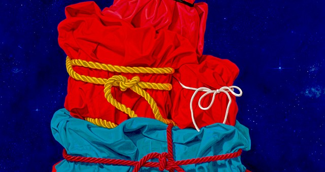 "detail of still life painting of cotton cloth and satin cords - Pamela Sienna ""Mounting Secrets #2"""
