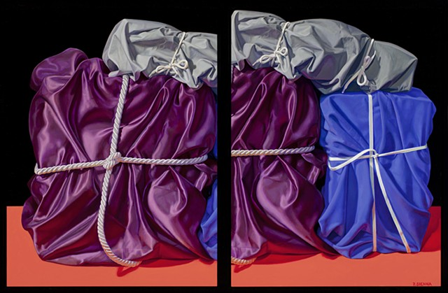 Three Packed Memories (visual stutter) by Pamela Sienna - diptych still life oil painting of cloth and cords, satin, cotton, realism, purple, blue
