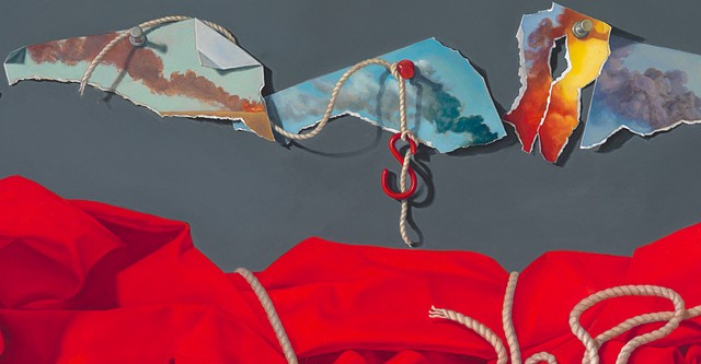 """detail of painted paper scraps with tacks, hook and string by Pamela Sienna """"Every Shred"""""""