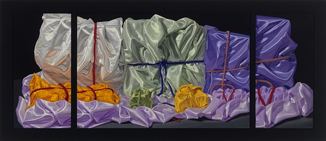"""Seven Ways to Remember (visual stutter) by Pamela Sienna -  29.5"""" x 68"""" triptych oil still life painting of satin cloth, woman painter, contemporary realism"""