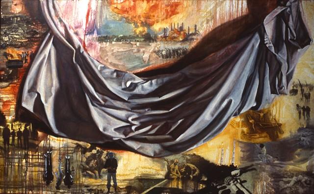 Pamela Sienna oil painting draped cloth. Woman artist.