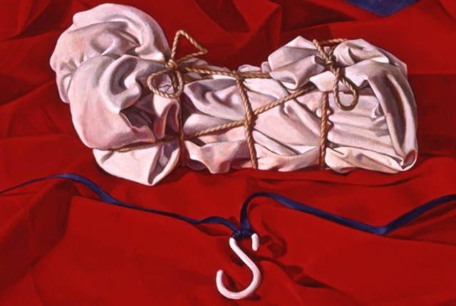 "oil painting detail of ""Between Question and Reflection"" by Pamela Sienna, white wrapped and tied cloth on red cloth with hook"