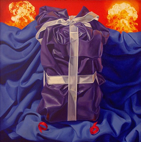Pamela Sienna oil painting of cloth, ribbon, explosions. Contemporary realism.