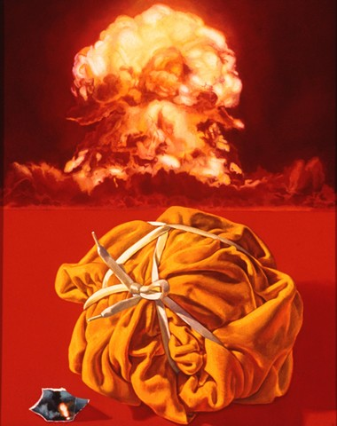 Pamela Sienna oil painting of atomic bomb test and cloth still life