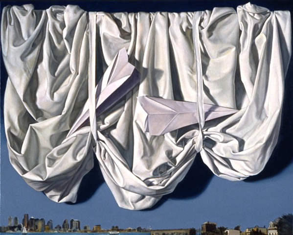 """My Sky (East Boston"" by Pamela Sienna, 16"" x 20"" oil painting, still life of white draped cloth with paper airplanes and Boston Harbor skyline, contemporary realism"