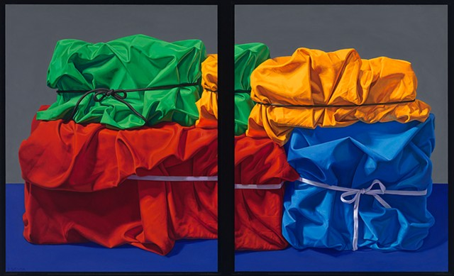 Four Seasonal Memories (visual stutter) by Pamela Sienna - oil still life painting of cloth, realist art, realism, draped wrapped cloth, green, yellow, red, blue