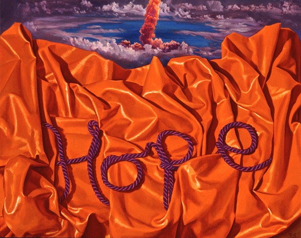 """""""Hope #3"""" by Pamela Sienna, 11"""" x 14"""" oil painting still life with brightly colored cloth and cord spelling Hope with rocket in background, contemporary realism"""