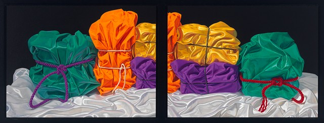 Five Crowded Memories (visual stutter) by Pamela Sienna - diptych oil painting, still life of cloth, satin, cotton, realist painting
