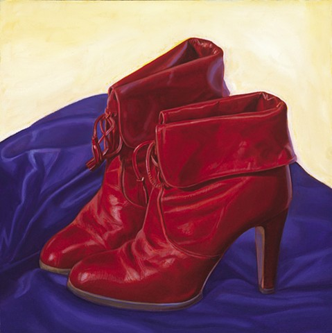 Wardrobe Study (wine red boots from 1978) by Pamela Sienna - wardrobe series, 1970's boots painting study