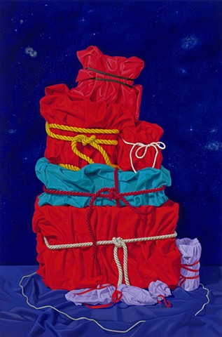 "Mounting Secrets #2 by Pamela Sienna, 36"" x 24"" - still life oil painting of cloth wrapped and bound"