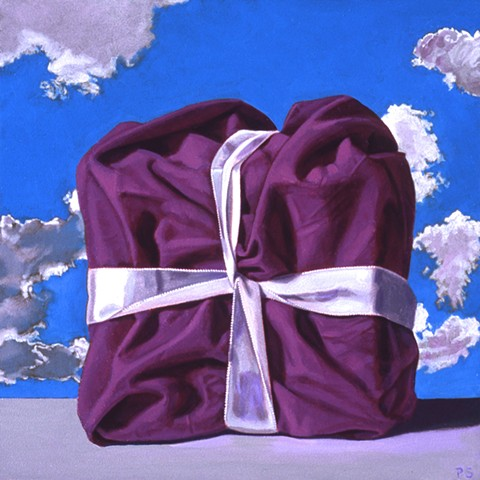 Pamela Sienna small still life painting of cloth, ribbon and sky