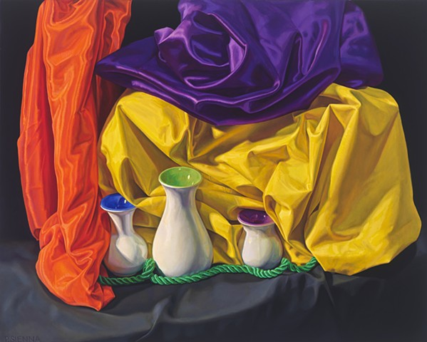 Circling the Still Life #3 by Pamela Sienna - still life oil painting, painting of cloth, satin, vase, woman painter, contemporary still life painting