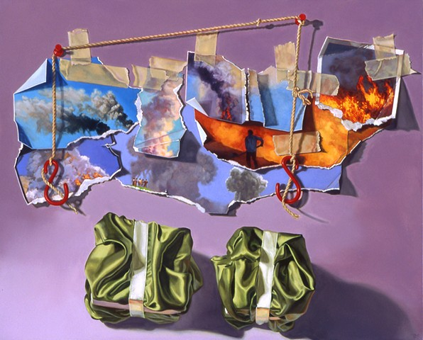 Pamela Sienna, trompe l'oeil painting, contemporary still life painting, paper, tape, tacks, string