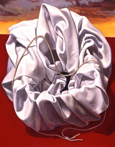 """Wrapped (the next question"" by Pamela Sienna, 14"" x 11"" oil painting of cloth with string, still life contemporary realism"