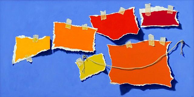 Pamela Sienna trompe l'oeil painting, painting of paper
