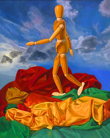 Walking in Autumn by Pamela Sienna - still life oil painting with cloth and wooden mannequin, contemporary oil painting