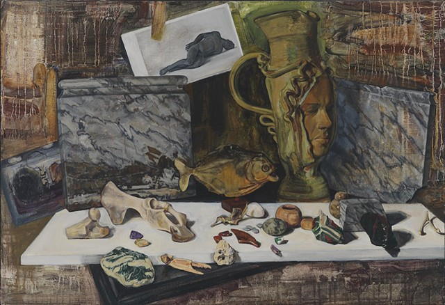 Pamela Sienna contemporary still life painting, stones, bones, piranha fish