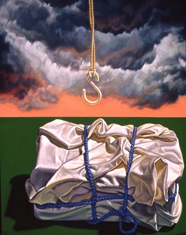 Unsettled by Pamela Sienna - oil painting of still life of bound white cloth with clouds