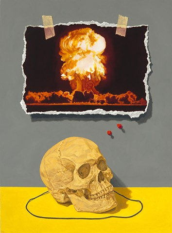 Pamela Sienna oil painting of skull and trompe l'oeil paper explosion