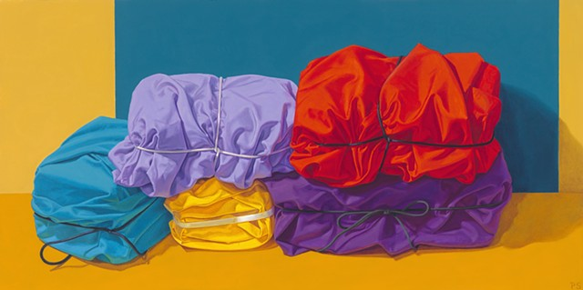 """Interlocked"" by Pamela Sienna, 12"" x 24""  oil painting, still life of cloth tied and stacked, contemporary realism"