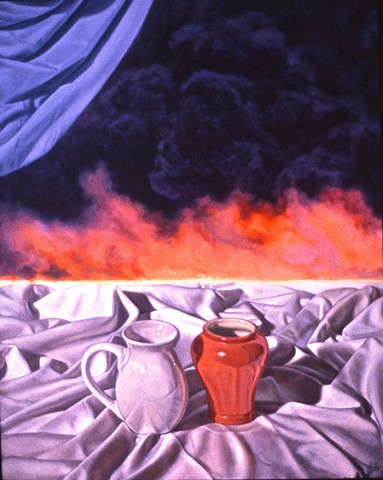Pamela Sienna oil painting of still life with smoke and cloth