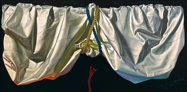 "Poem You Can't Read"" by Pamela Sienna, 18"" x 36"" still life oil painting, draped white cloth held up by cords across a night sky with stars, drapery, contemporary realism"