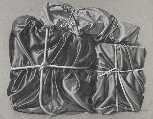 Pamela Sienna, realist charcoal drawing of cloth, study for painting Three Packed Memories