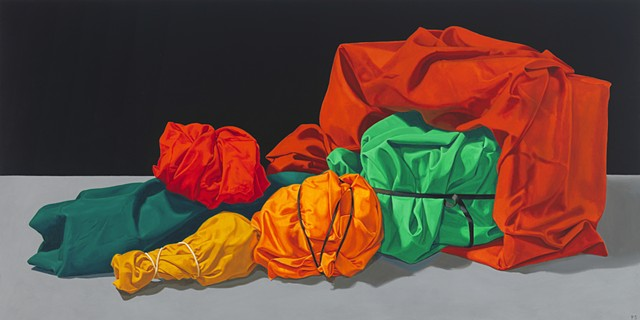 """""""Cornucopia"""" by Pamela Sienna, 18"""" x 36""""  still life oil painting, of wrapped and tied cloth spilling out of box"""