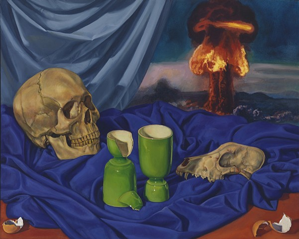 Pamela Sienna still life painting, skull, cloth, painting with atomic bomb, contemporary realism