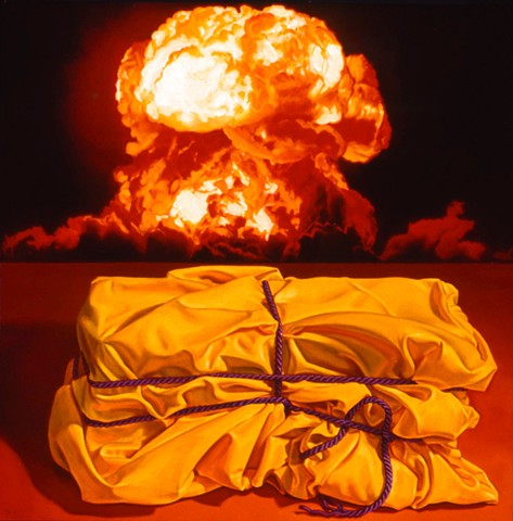 Pamela Sienna, oil painting, still life of cloth with atomic explosion
