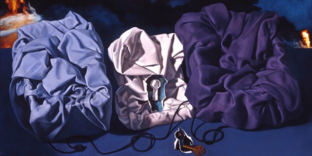 """Searching Without Moving"" by Pamela Sienna, 12"" x 24"" oil painting, still life of cloth, contemporary realism"