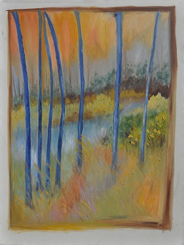 Abstract Impressionist andscape in oil